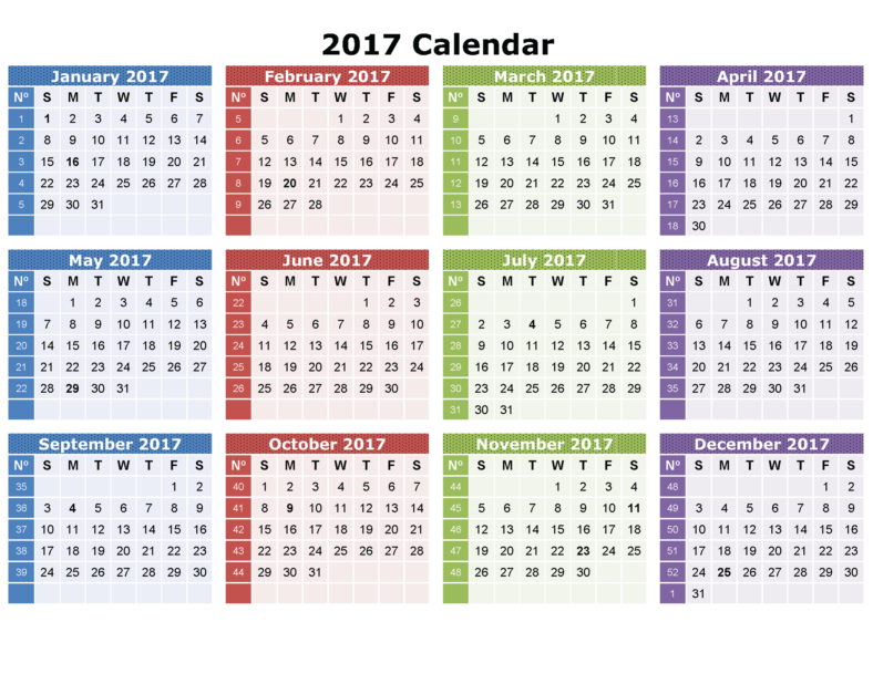 Yearly Calendar Printable 2017