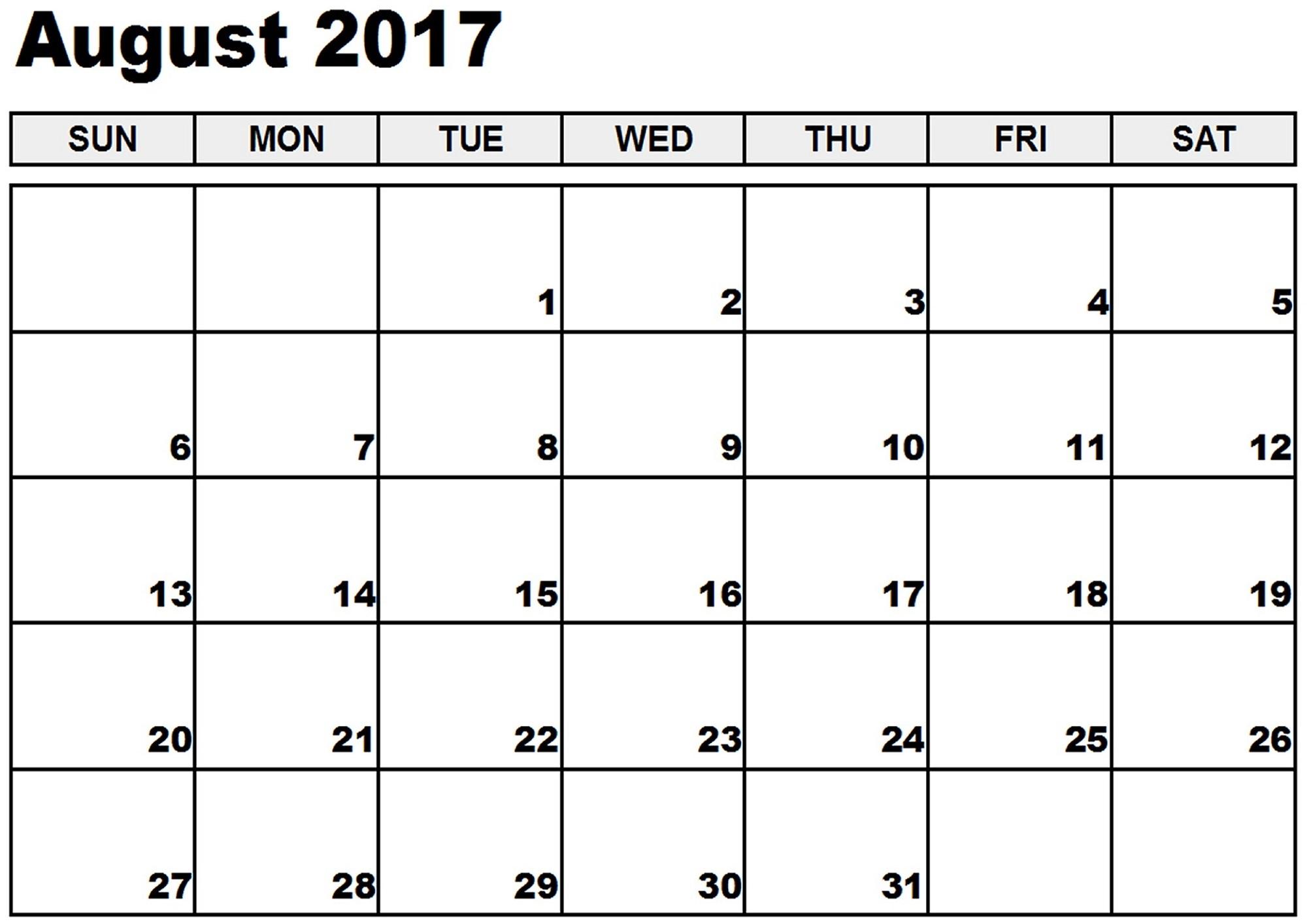 Calendar Printable August 2017