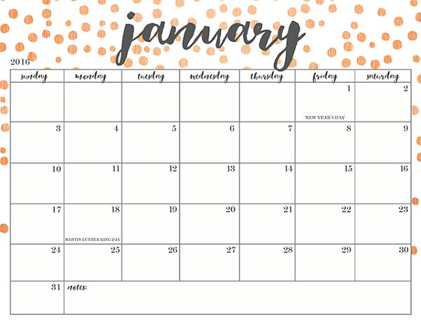 Blank Calendar Printable January
