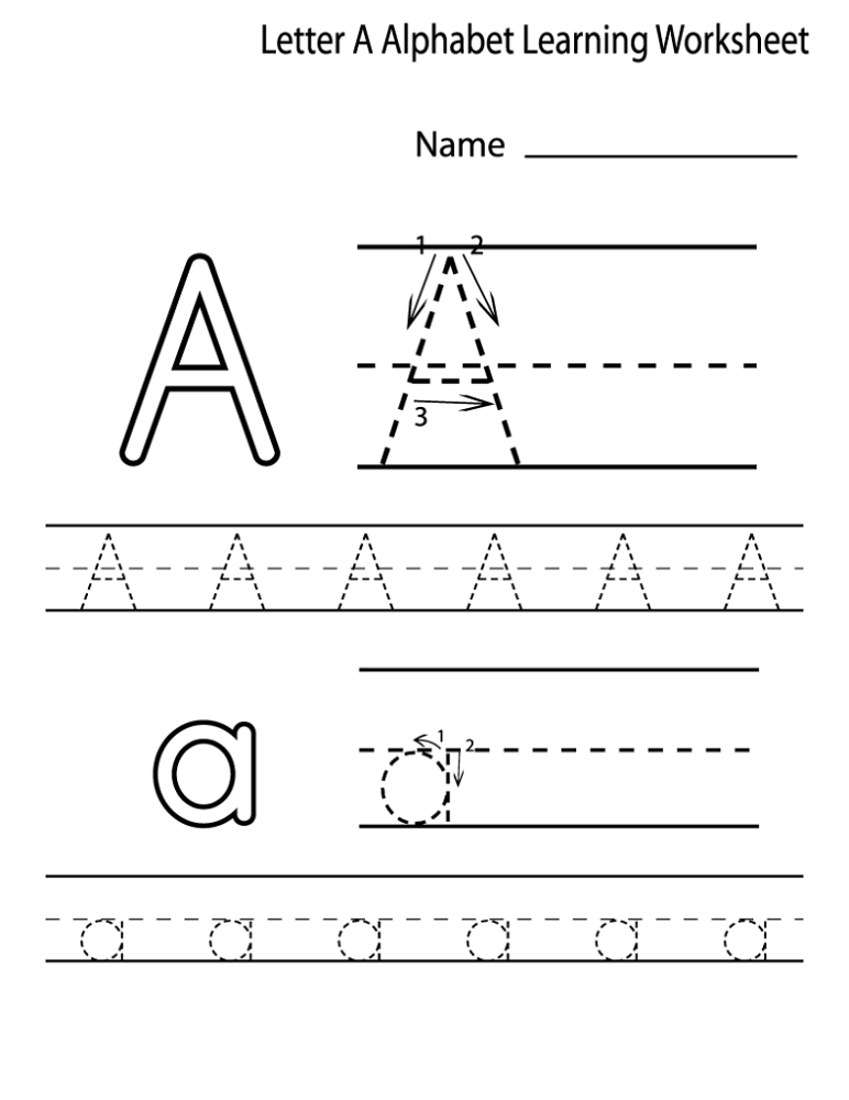 Free Learning Worksheets Letter