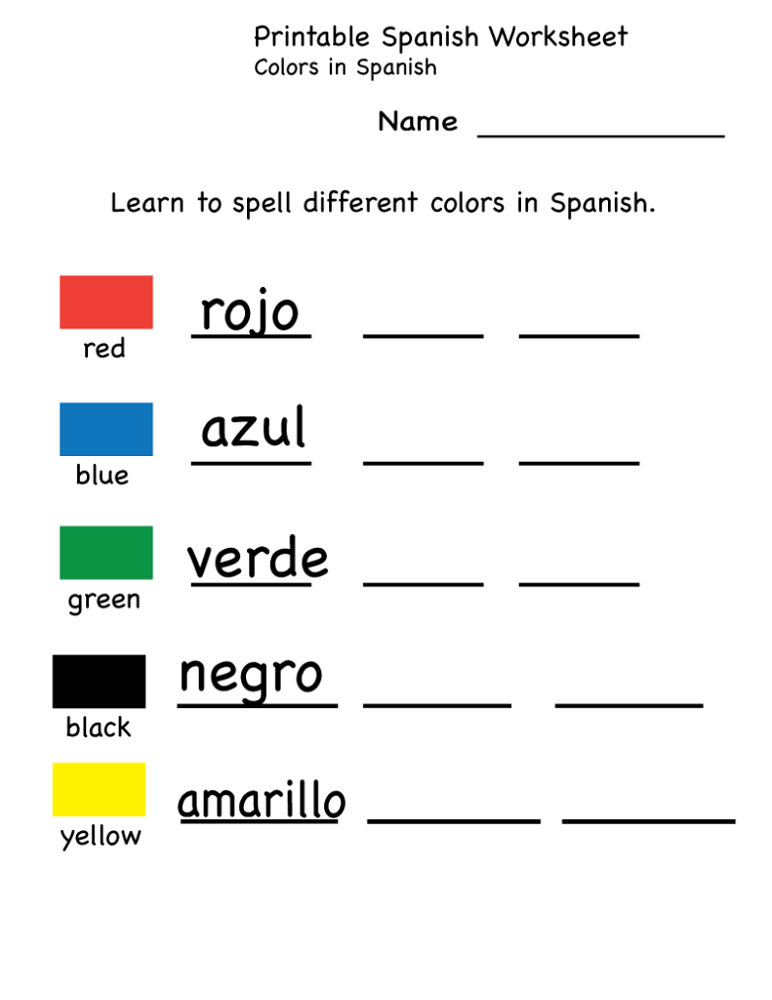 Free Learning Worksheets Spanish