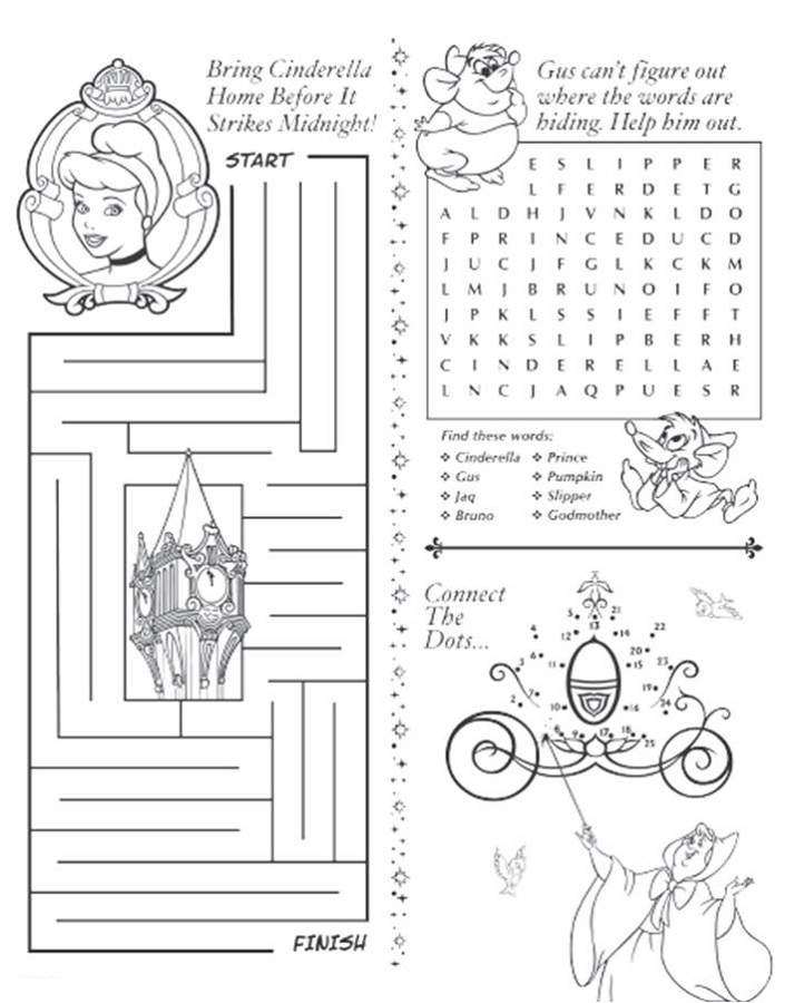Free Activity Sheets Cinderella