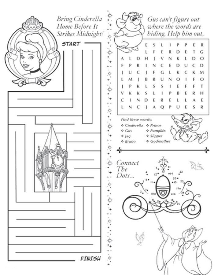 Free Activity Sheets Cinderella