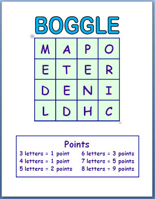 Rules for Boggle Printable