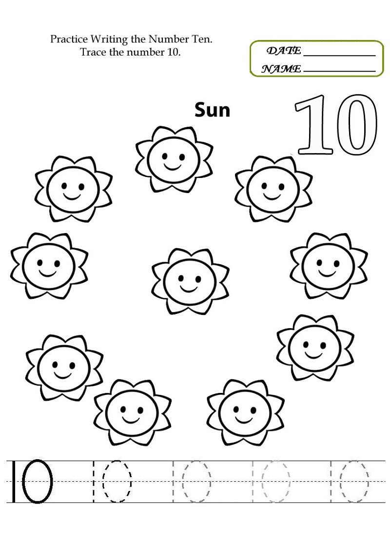 number 10 worksheet fun - Number Worksheet For Kindergarten