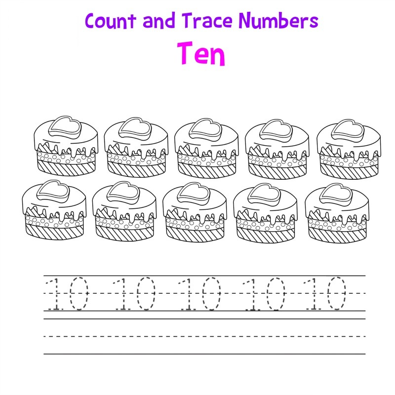 number 10 worksheet tracing
