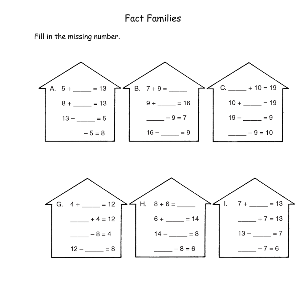 fact families worksheets practice