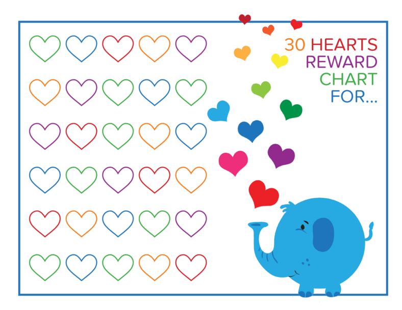 preschool reward chart animal
