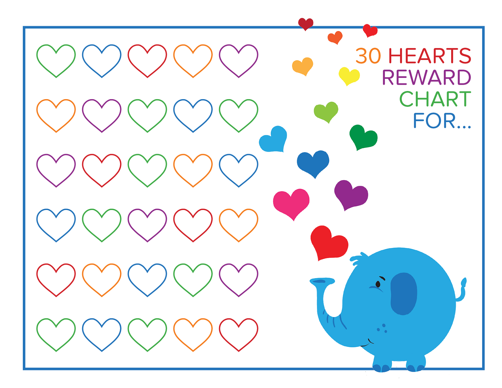 preschool reward chart animal