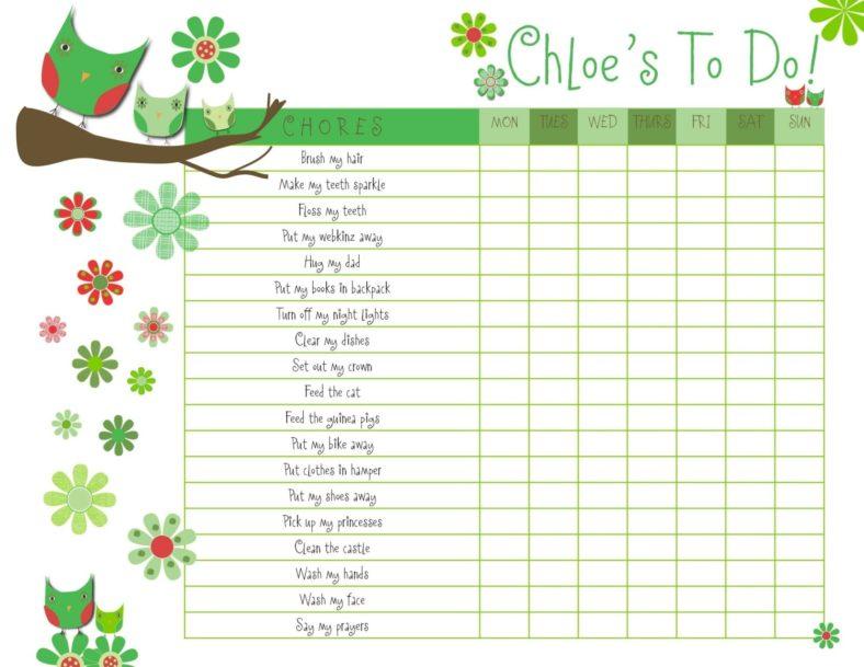 preschool reward chart printable