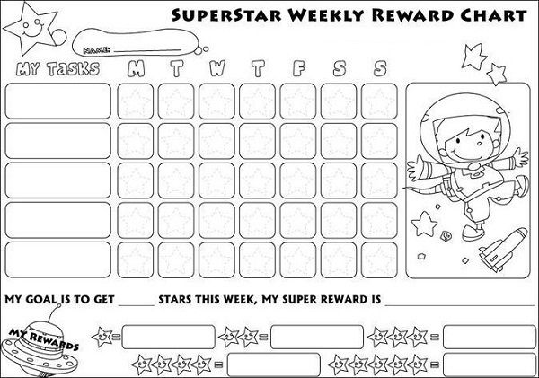 preschool reward chart weekly