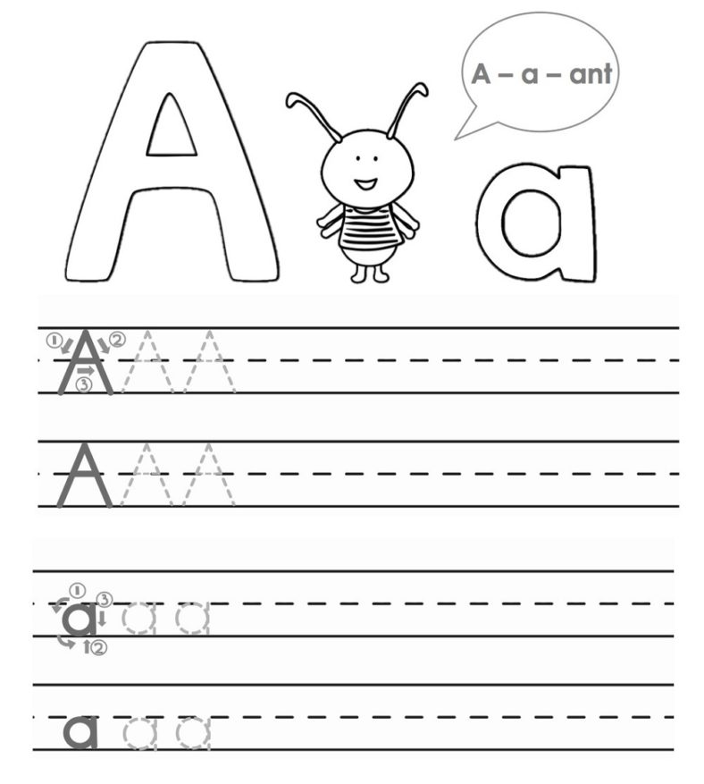 abc trace worksheet for kids