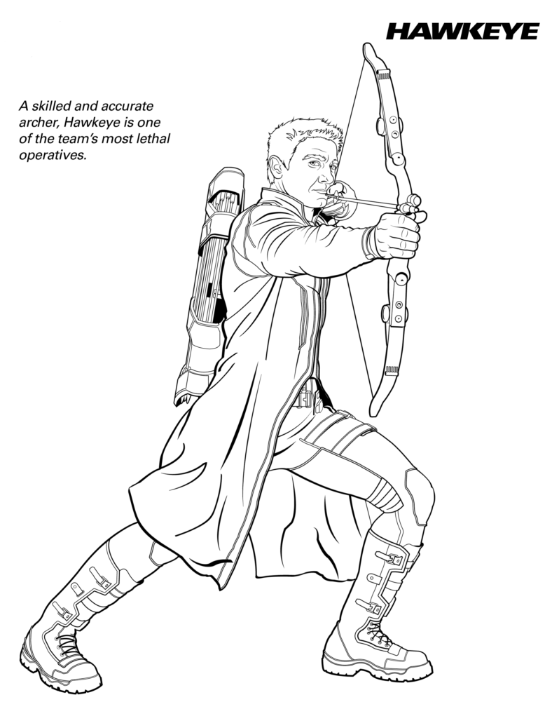 hawkeye coloring pages easy