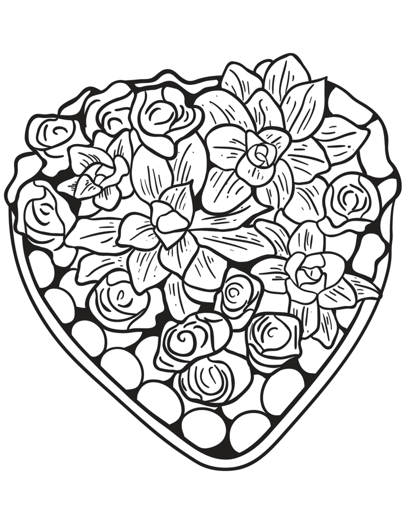 coloring pages of hearts and flowers free