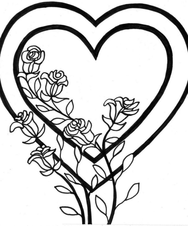 coloring pages of hearts and flowers simple