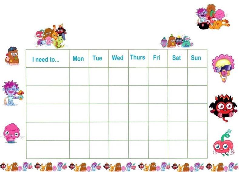 free printable reward charts daily