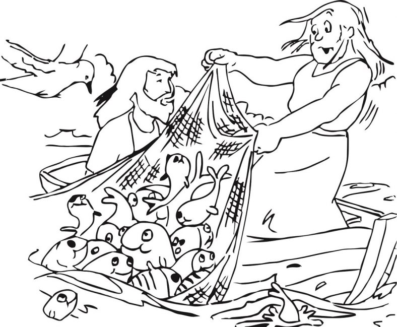 fishers of men coloring page hill