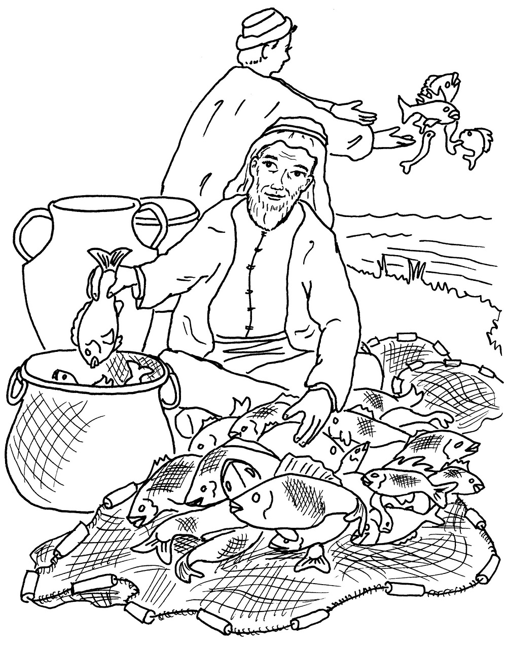 fishers of men coloring page selection