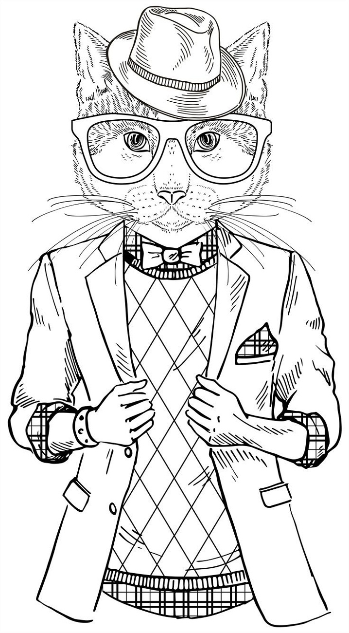 hipster coloring pages cartoon