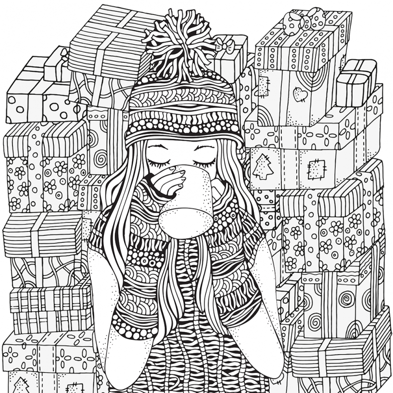 hipster coloring pages christmast