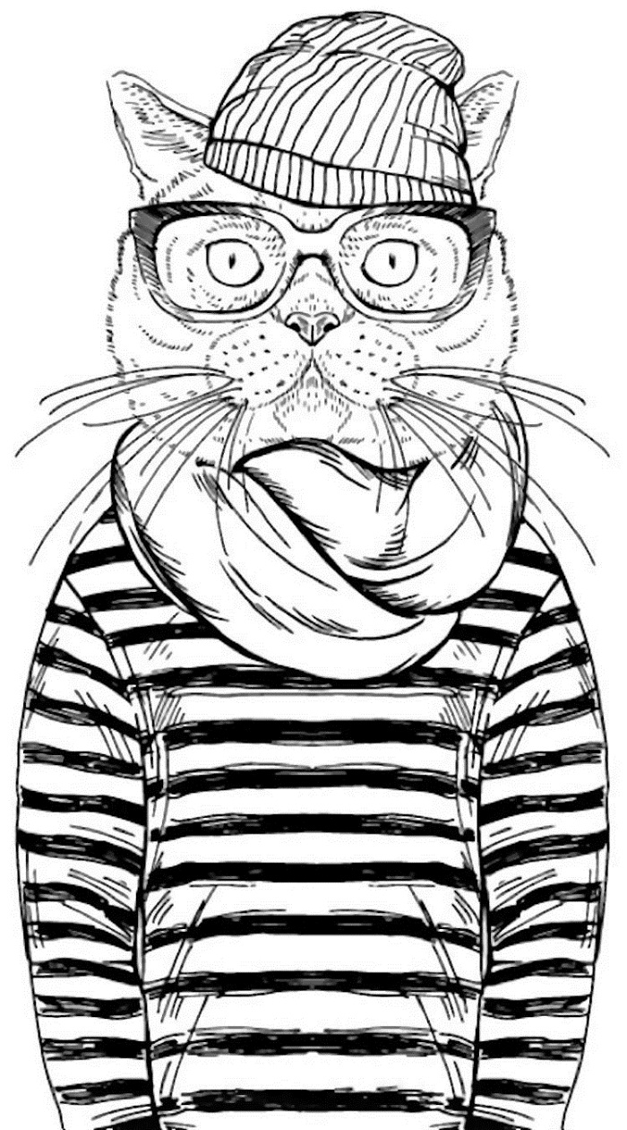 hipster coloring pages cute