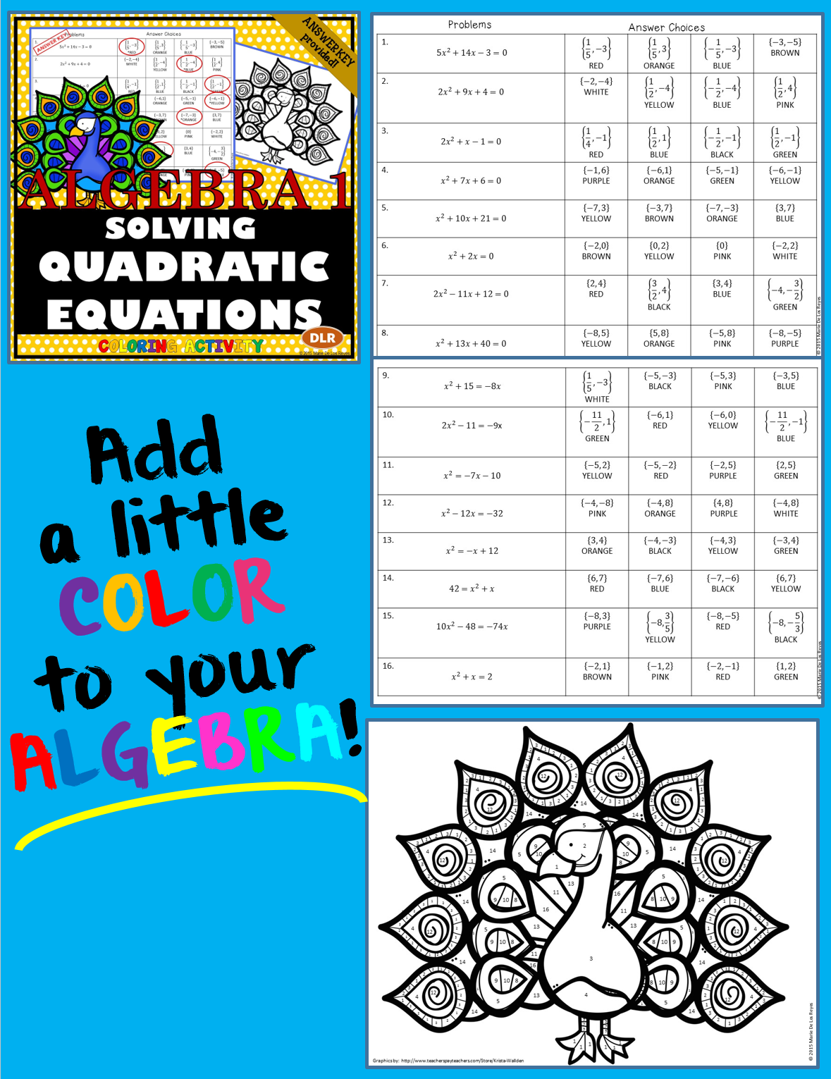 literal equations coloring activity free