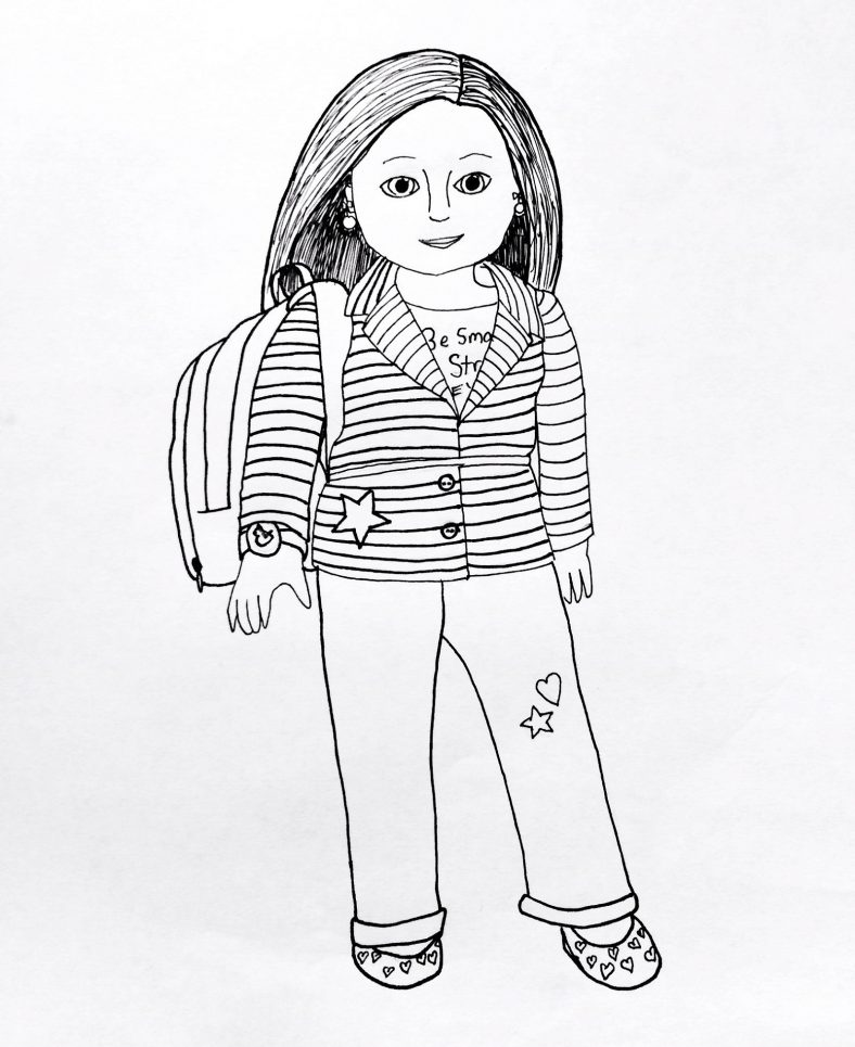 american girl doll coloring pages simple