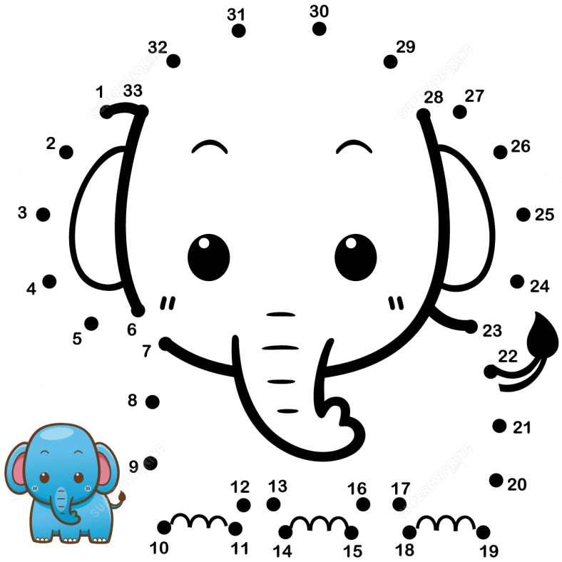 baby elephant coloring pages dot