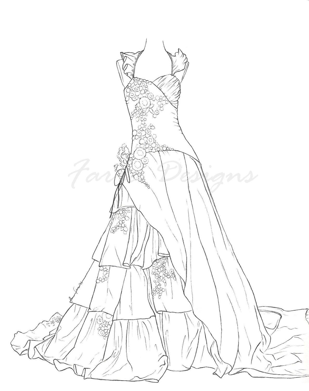 wedding dress coloring pages barbie