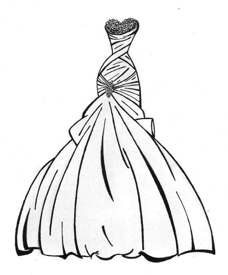 wedding dress coloring pages bride