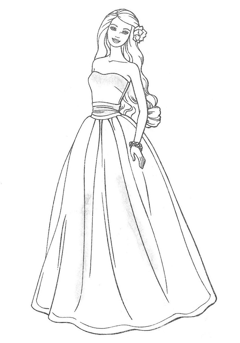 wedding dress coloring pages girl