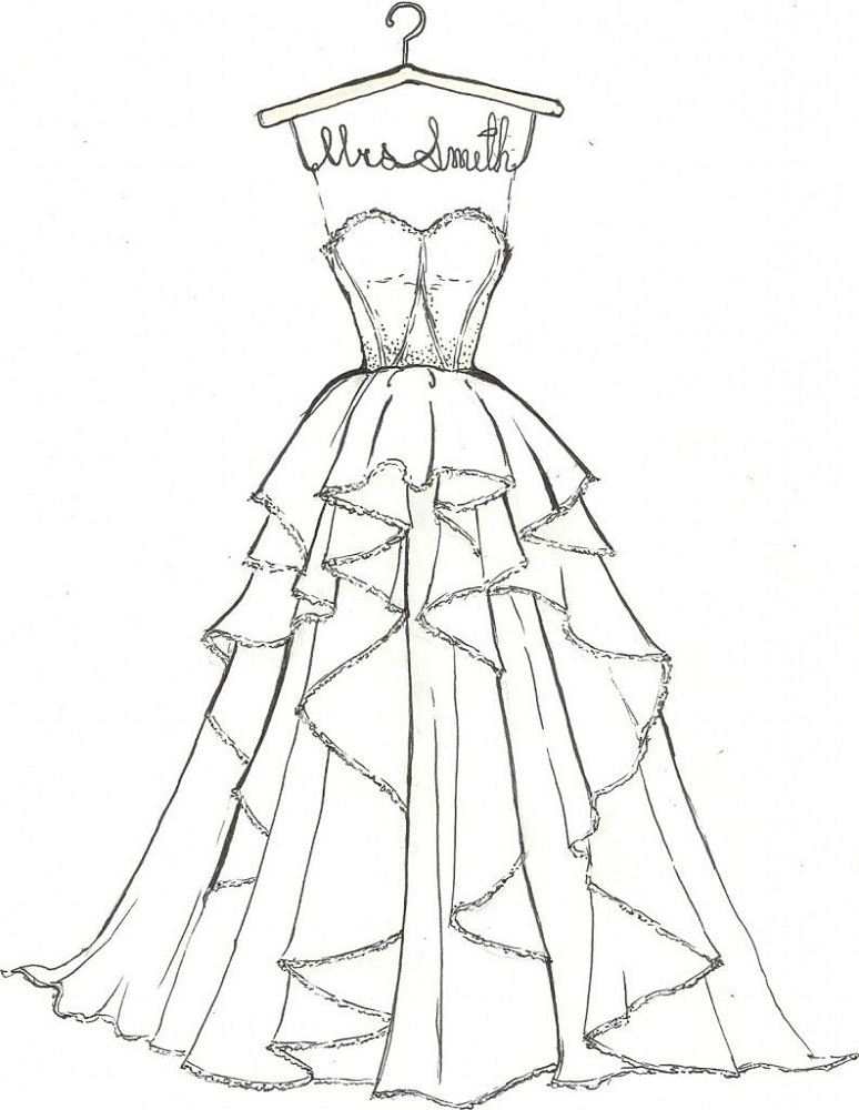 wedding dress coloring pages luxury