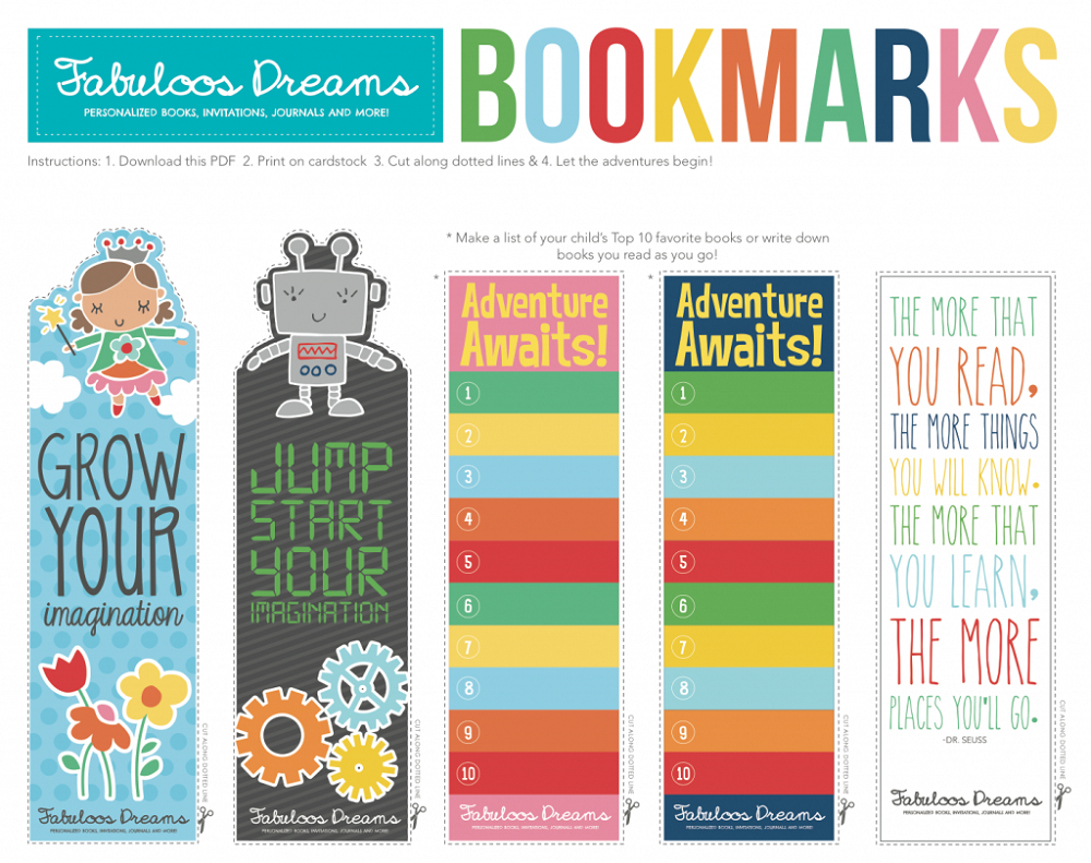 Kids Printable Bookmarks