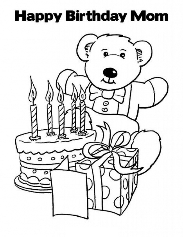 happy birthday mom coloring page cute