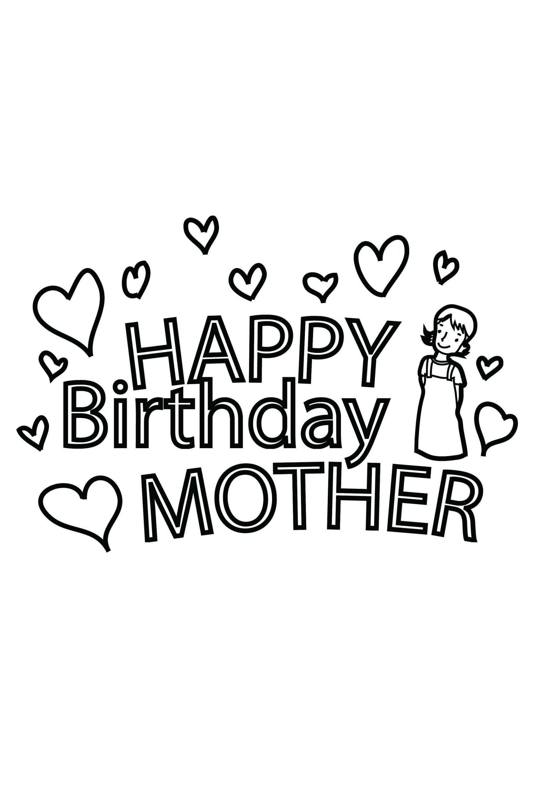 happy birthday mom coloring page easy