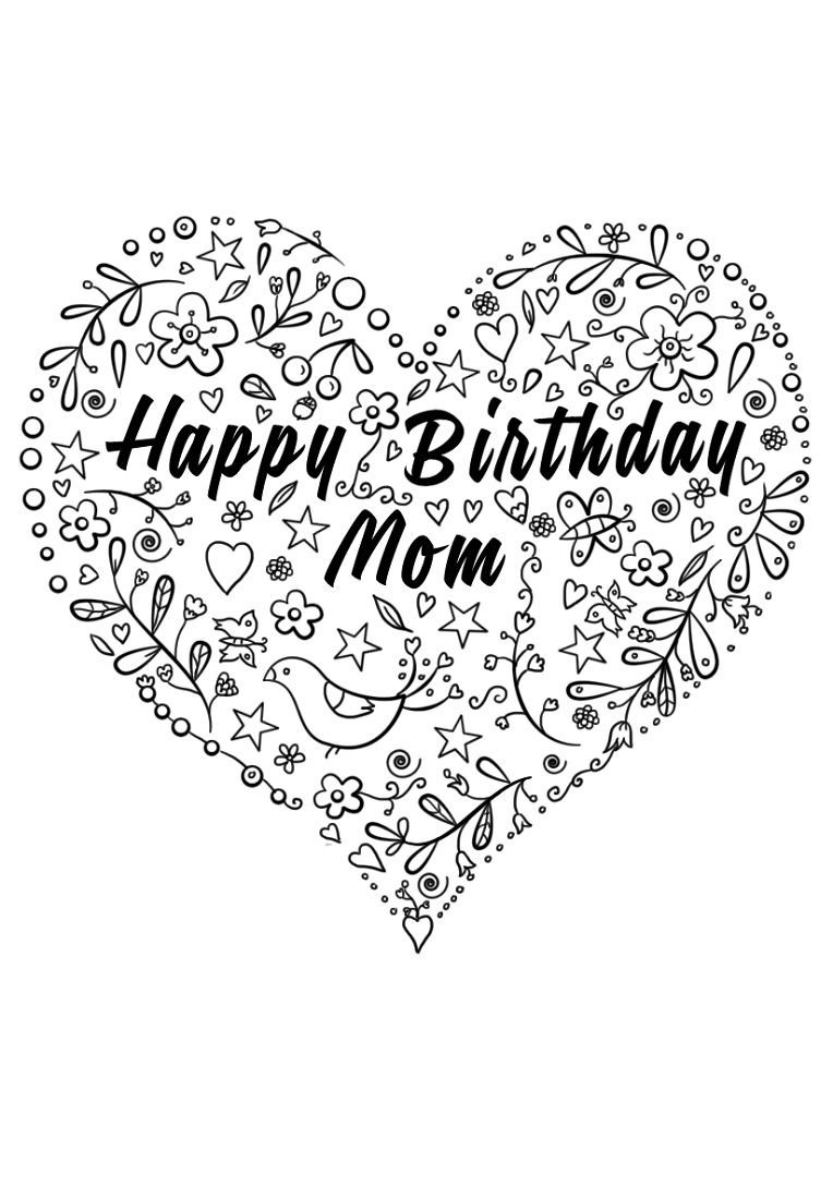 happy birthday mom coloring page free