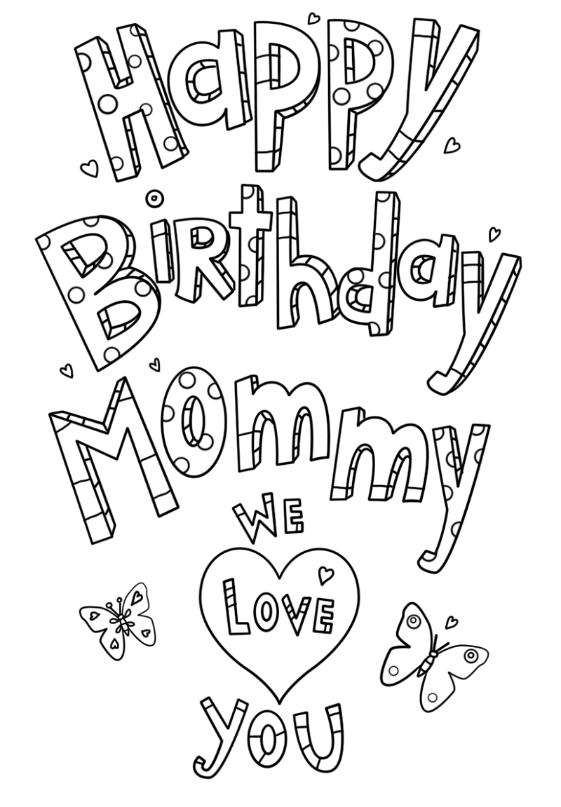 happy birthday mom coloring page printable
