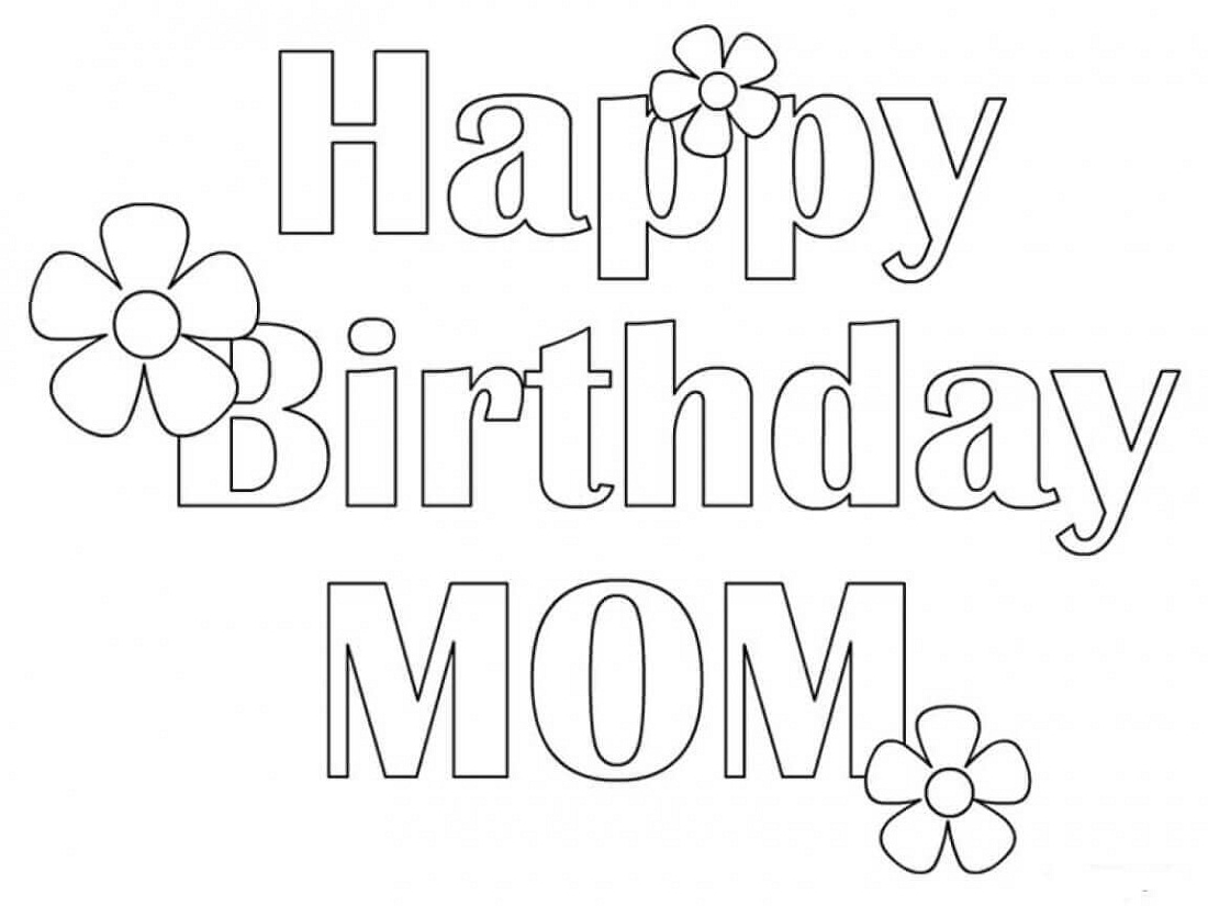 happy birthday mom coloring page simple