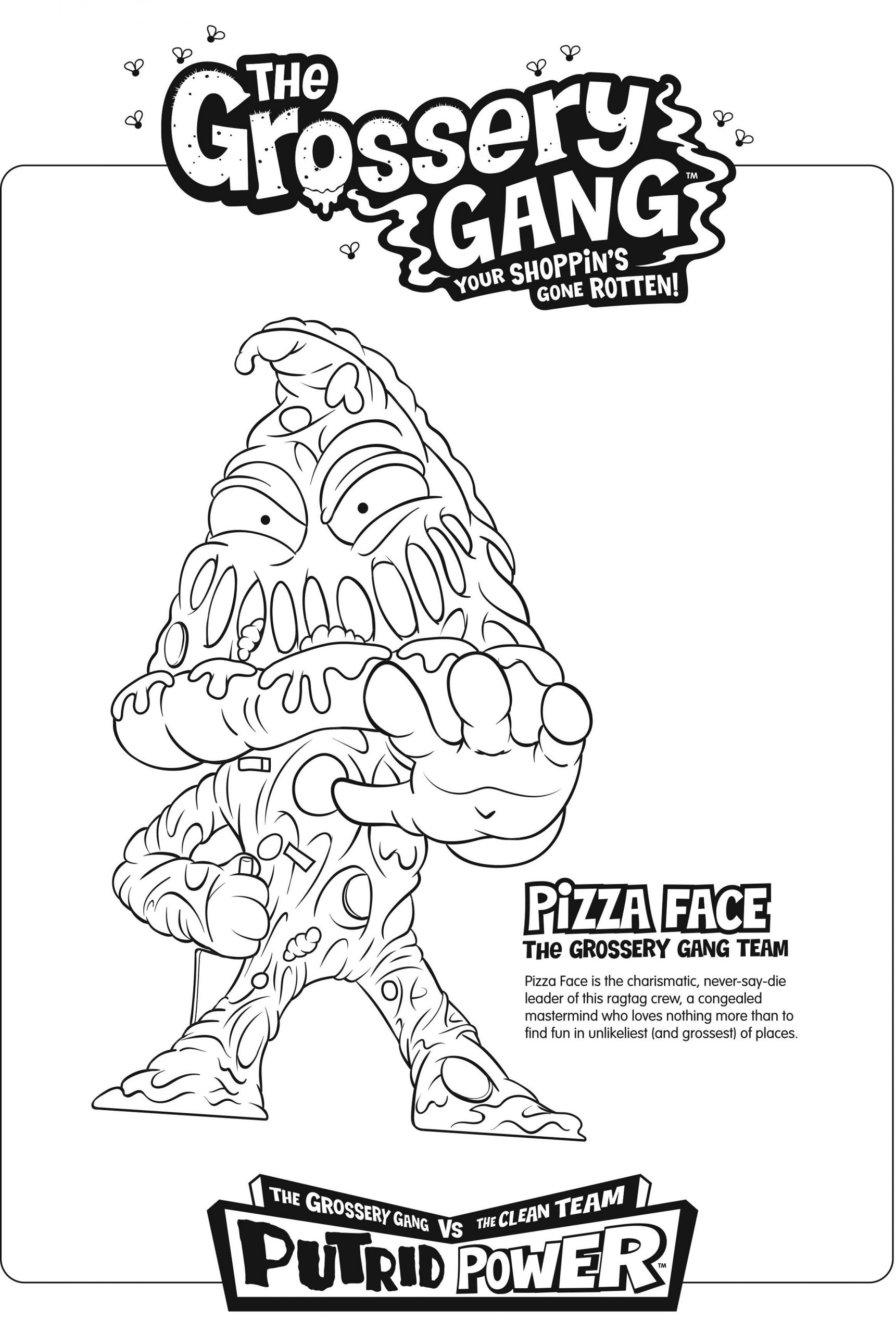 grossery gang coloring pages pizza face